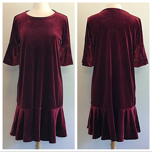 Halogen Dresses & Skirts - Halogen Burgundy Velvet Dress